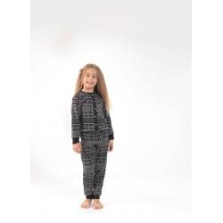 Blackspade Kız Çocuk Pijama Takımı 6642 Kar Tanesi Baskılı