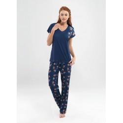 Blackspade Kadın Lacivert Desenli Pijama Takımı 6845