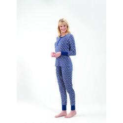 Blackspade Kadın Pijama 6573 Büyük Puantiyeli Mavi