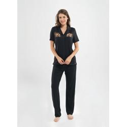 Blackspade Kadın Dantelli Pijama Takımı 6785 Siyah