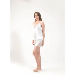 Blackspade Kadın Saten Şort Pijama Takımı 6581 Beyaz