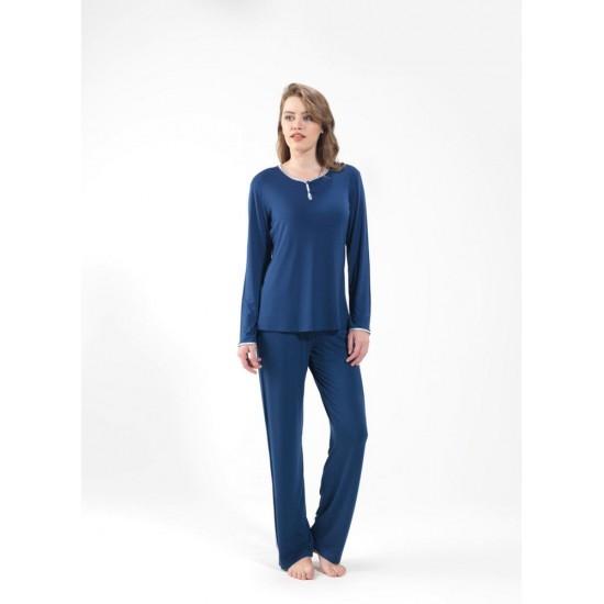 Blackspade Kadın Uzun Kollu Pijama Takımı 6556 Lacivert