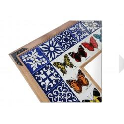 Kelebek Desenli El Yapımı Çini Ayna Model-01