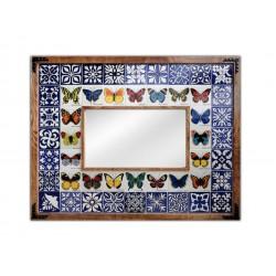 Kelebek Desenli El Yapımı Çini Ayna Model-02