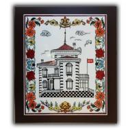 Trabzon Atatürk Köşkü Desenli El Yapımı Çini Pano