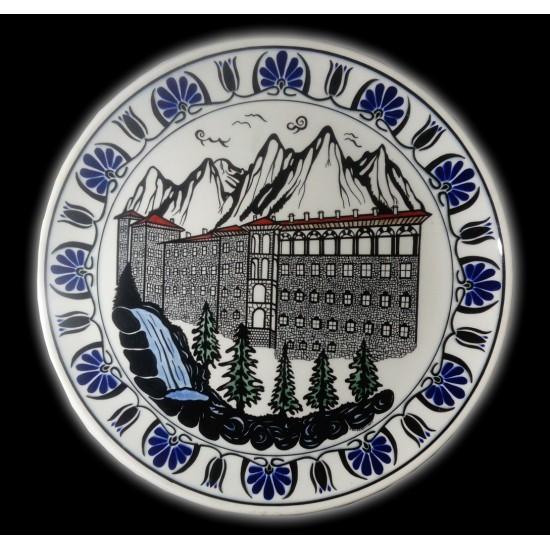 Trabzon Sümela Manastırı Desenli El Yapımı Çini Tabak