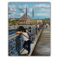 İstanbul Galata Köprüsü Yağlı Boya Tablo