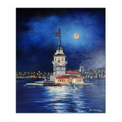 İstanbul Kız Kulesi Yağlı Boya Tablo