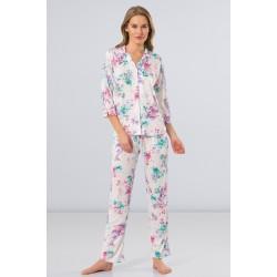 Türen Çiçekli Erkek Yaka Kadın Pijama Takımı Yeşil 3264