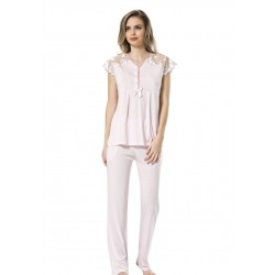 Türen Dantelli Kısa Kol Kadın Pijama Takımı Pembe 3192