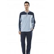 Türen Parçalı Uzun Kollu Erkek Pijama Takımı Mavi 4110