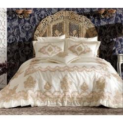 Zebra Casa Donna Çift Kişilik Yatak Örtüsü Krem