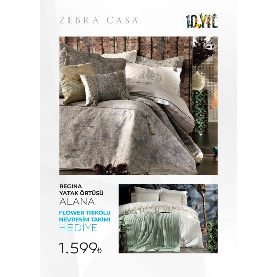 Zebra Casa Kampanya Regina Yatak Ortusu Alana Flower Triko Battaniyeli Nevresim Takimi Hediye
